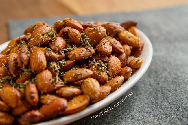 almonds with herbs on a plate