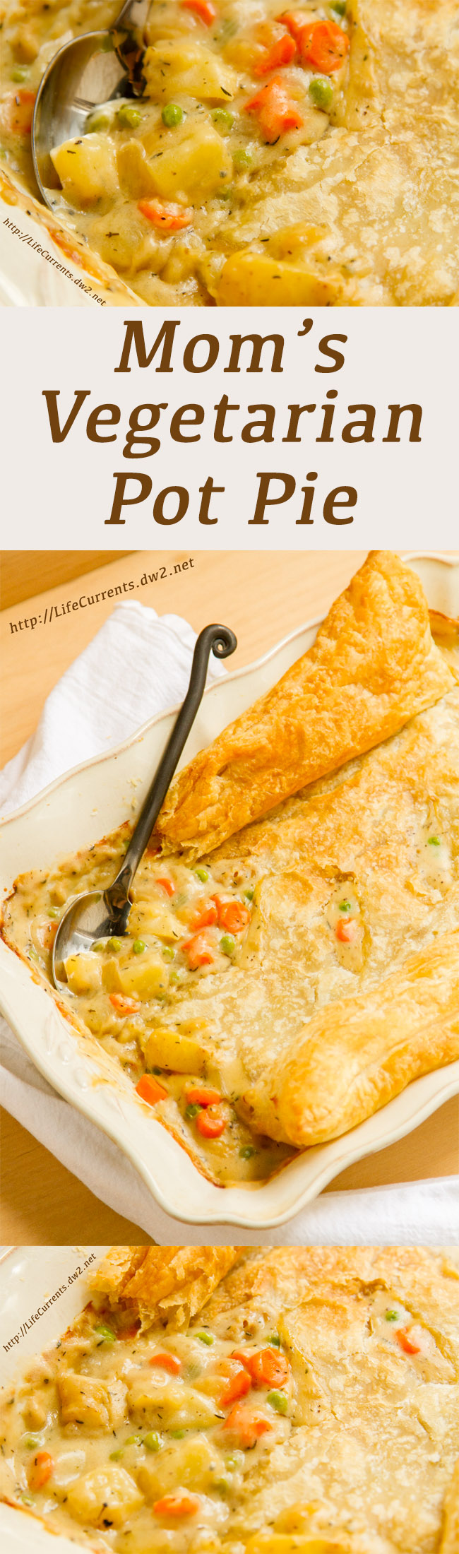Mom's Vegetarian Pot Pie long pin for Pinterest with 3 images and a title