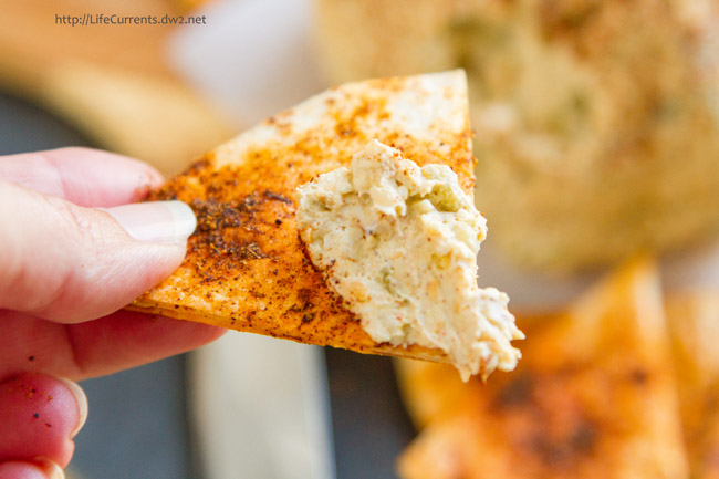 Mexican Cheese Ball with Spicy Tortilla Chips is a great appetizer that you can make ahead and serve to friends and family
