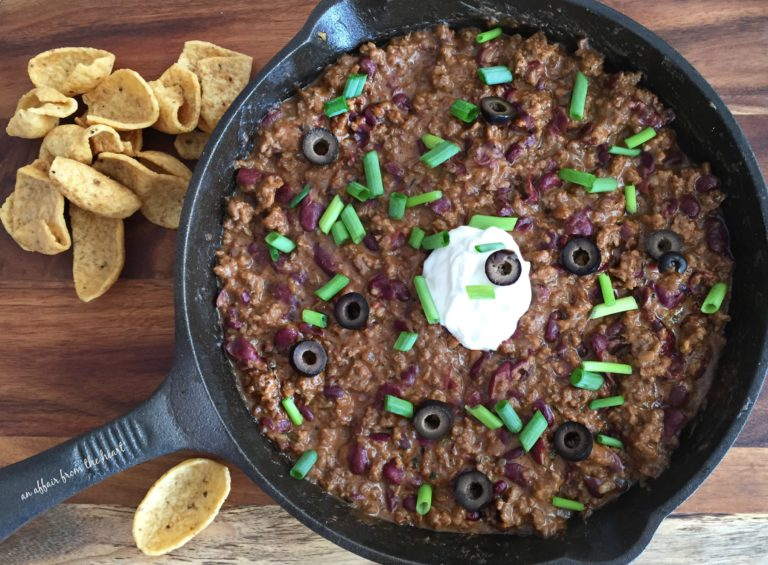 October is Tailgating Snacks Month 2016 - Hot Beef & Bean Dip
