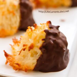 October is Tailgating Snacks Month 2016 - Chocolate Dipped Coconut Macaroons - These are definitely one of my favorite cookies - crunchy toasted exterior with a chewy soft inside