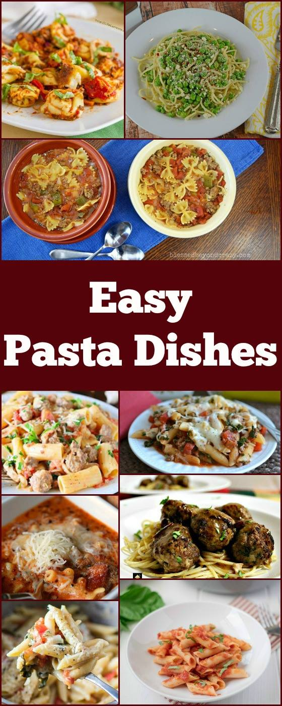 collage of easy dinners.