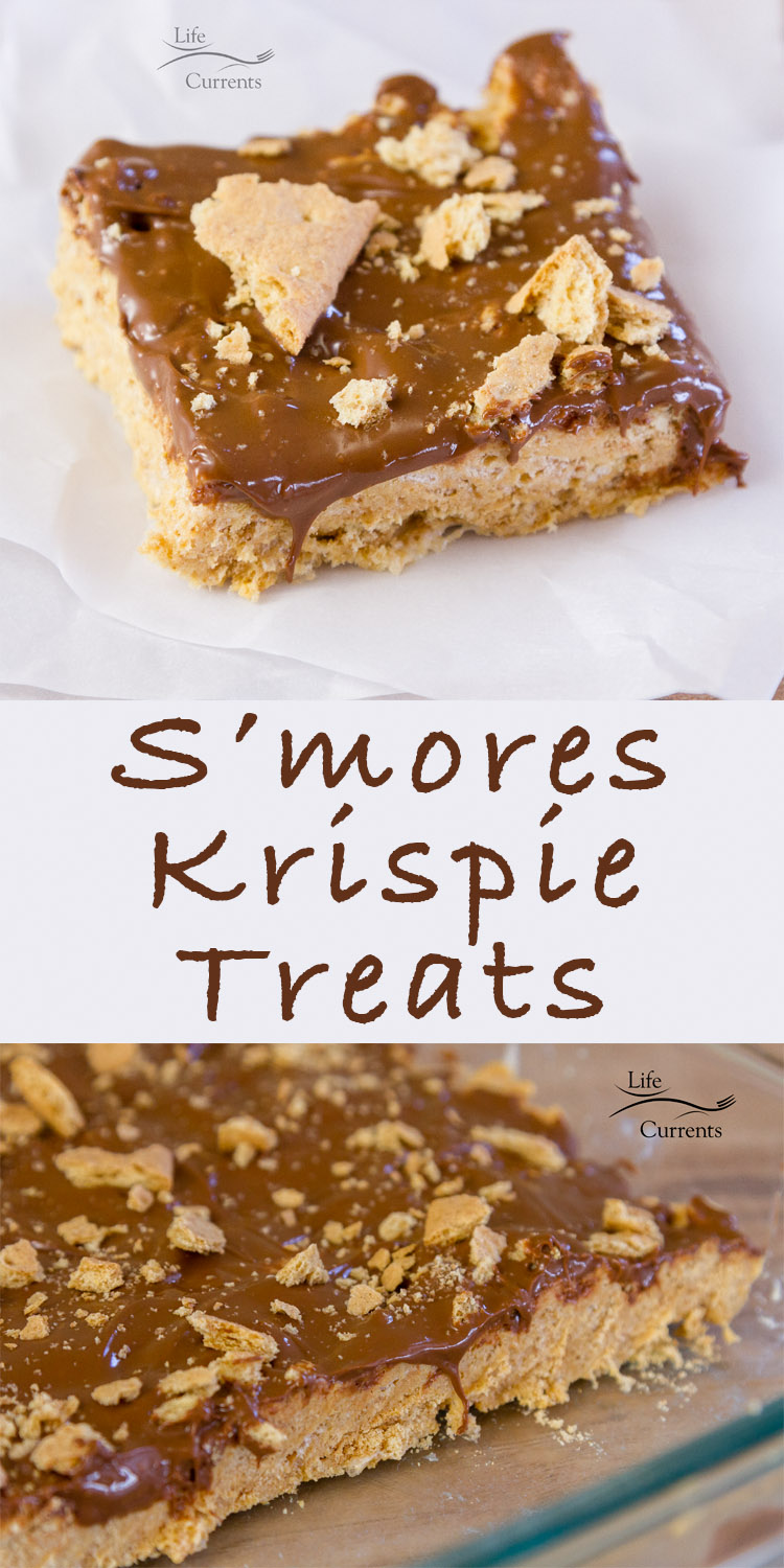 S'mores Krispie Treats pinterest pin with two images of the treats