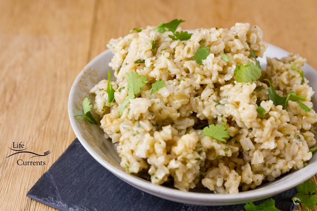 rice in a bowl with cilantro