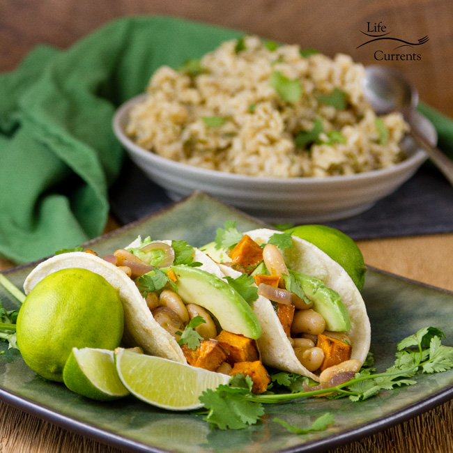 Today I'm bringing you a fabulous vegan White Bean & Sweet Potato Taco Filling featuring Goya Foods. These tacos are so good! So many great Mexican flavors going on. And, these are nice and easy to make.