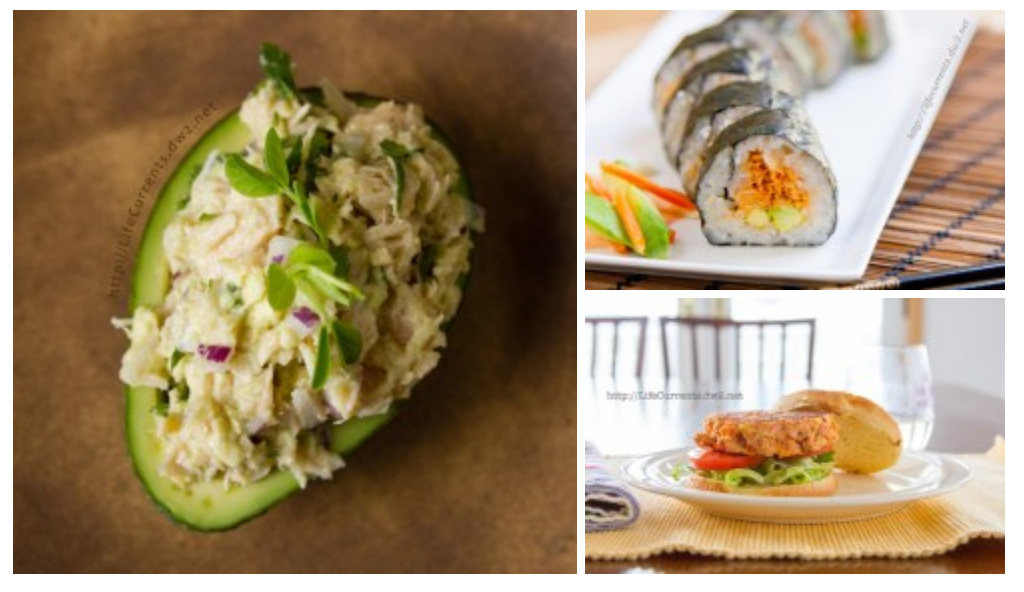 Seafood Recipes for Lent collage with 3 seafood pictures