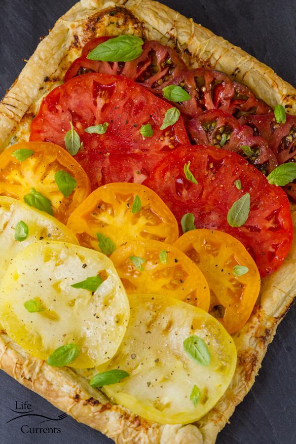Ombre Heirloom Tomato Ricotta Tart It's like summer on a plate!