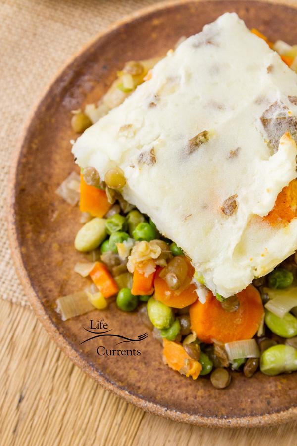 Vegetarian Shepherd's Pie healthy comfort food that can easily be made vegan as well