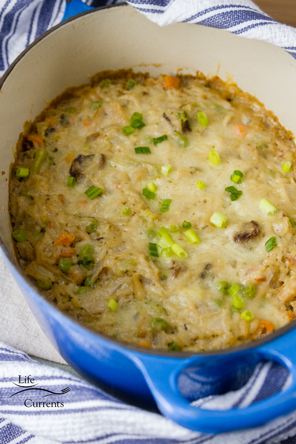 close up on casserole topped with cheese and green onions.