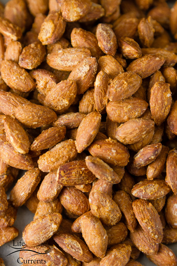 close up on flavored almonds.