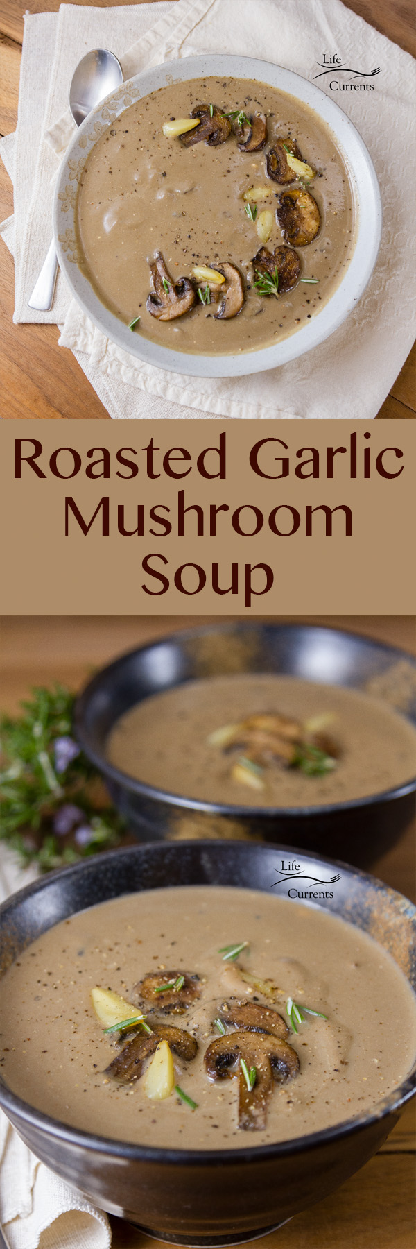 Creamy delicious, thick and hearty, mushroom soup, made even more delicious with earthy roasted garlic. This Roasted Garlic Mushroom Soup is what you want on a chilly night.