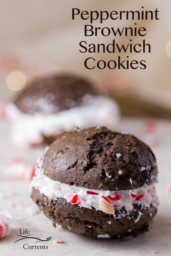 Peppermint Brownie Sandwich Cookies Soft delicious chocolate brownie cookies with delicious sweet marshmallow crème inside, all wrapped in crushed candy canes
