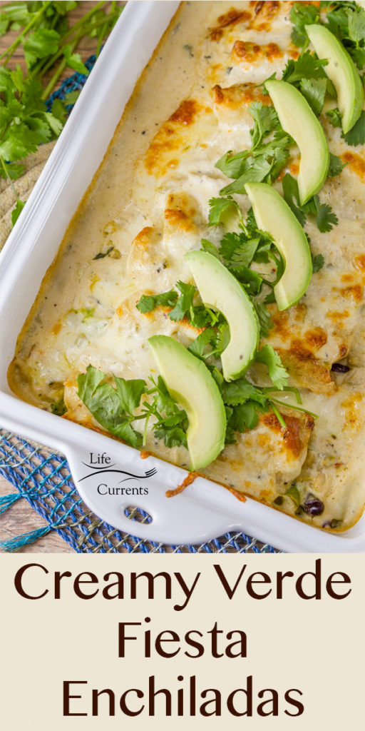 delicious and quick 30-minute meal recipe for Creamy Verde Fiesta Enchiladas