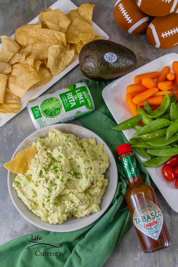 Guacamole with TABASCO® and a rita, served with veggies