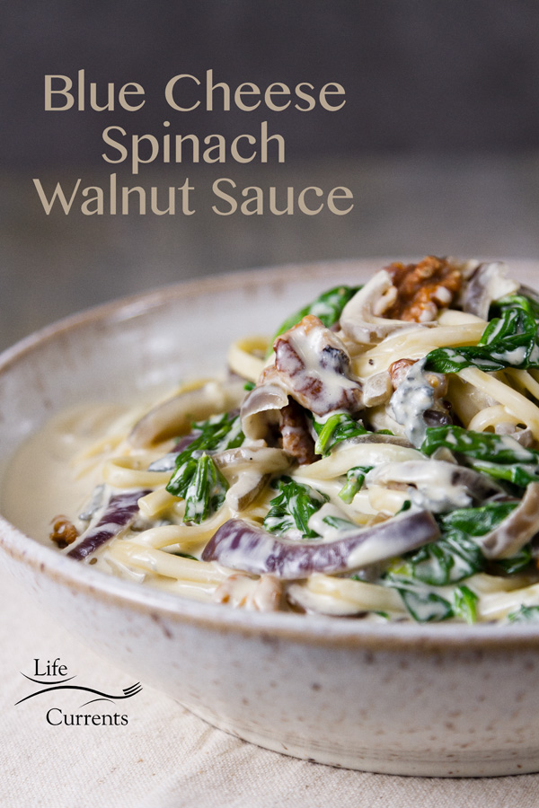 Blue Cheese Spinach Walnut Sauce is a super creamy, rich, blue cheese sauce with just the right amount of herby spinach, and some nutritious crunchy nutty walnuts.