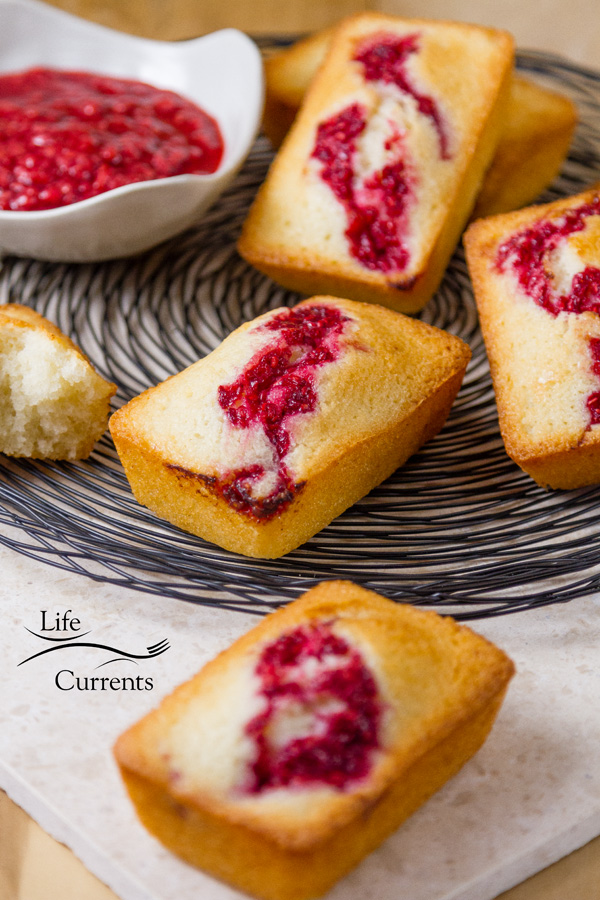 Almond Cakes with Raspberry Swirl -- These cakes are great for any dinner party or brunch, like Mother's Day or Christmas.