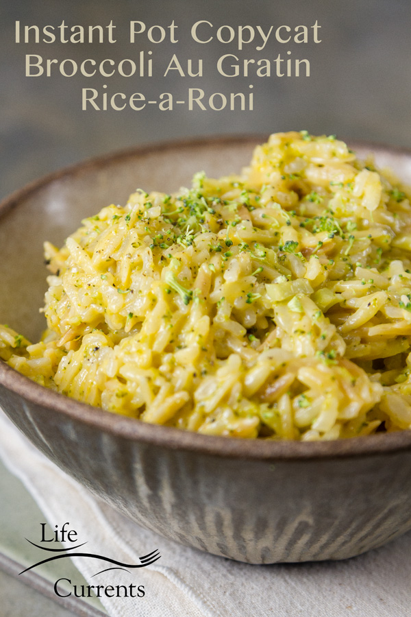 Broccoli au Gratin copycat rice-a-roni made in the Instant pot served on a ceramic bowl on a white napkin with a title