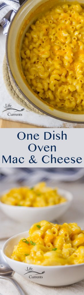 One Dish Oven Baked Mac & Cheese Recipe long pin for pinterest with two images and a title