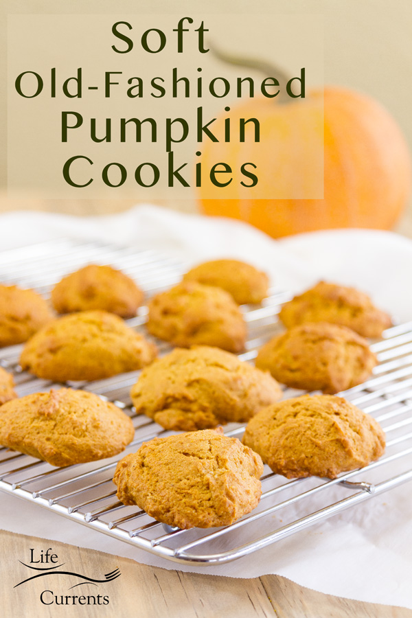 Soft Old-Fashioned Pumpkin Cookies without icing on a cooling rack and a pumpkin in the background
