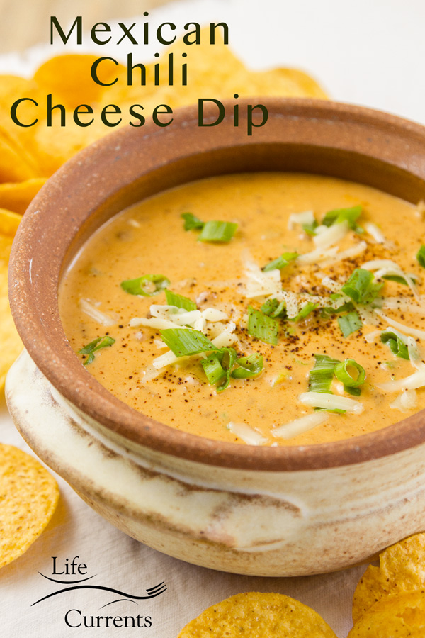 Mexican Chili Cheese Dip in a terracotta pot surrounded by corn tortilla chips