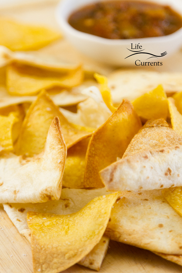 tortilla cips, both corn and flour, served with salsa
