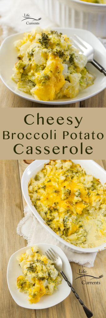 Long pin for Pinterest with two images and a title of Cheesy Broccoli Potato Casserole