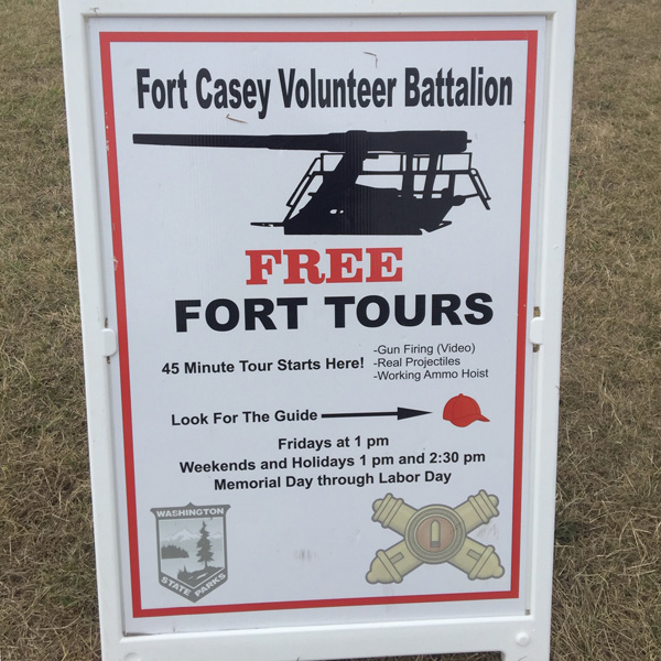 A sign for the Fort CAsey State Park tours