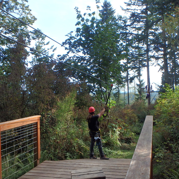 zip line tour from the platform with a guide assisting a guest