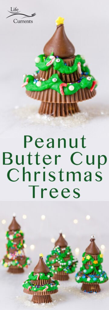 Pinterest long pin for Peanut Butter Cup Christmas Trees