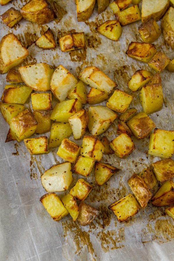 Roasted Potatoes on a parchment paper