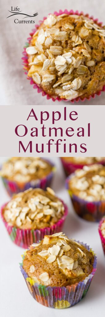 two images of apple oatmeal muffins in a long pin for pinterest