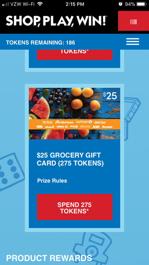 screen grab of the Shop Play Win app showing the grocery store gift cards tokens for How to play and win Safeway Monopoly Shop Play Win