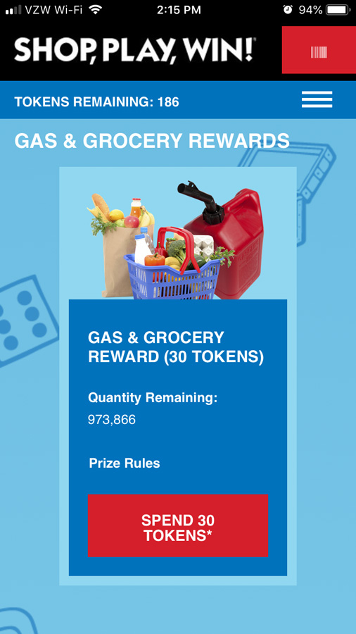 screen shot of the gas rewards for tokens for How to play and win Safeway Monopoly Shop Play Win