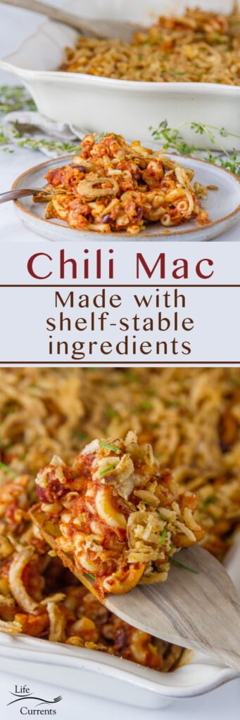 long pin for Pinterest of Chili Mac with two images and the title