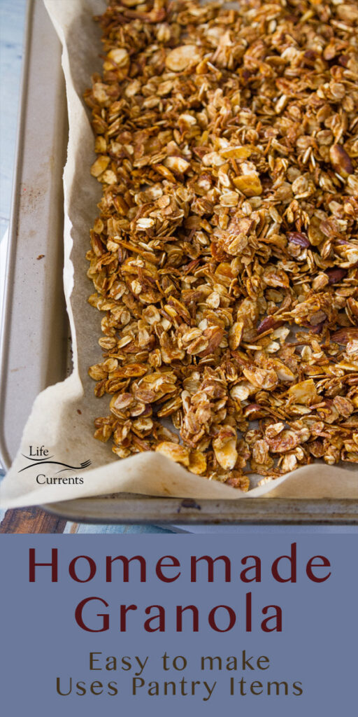 freshly made Homemade Granola Recipe in the rimmed baking sheet with the title underneath