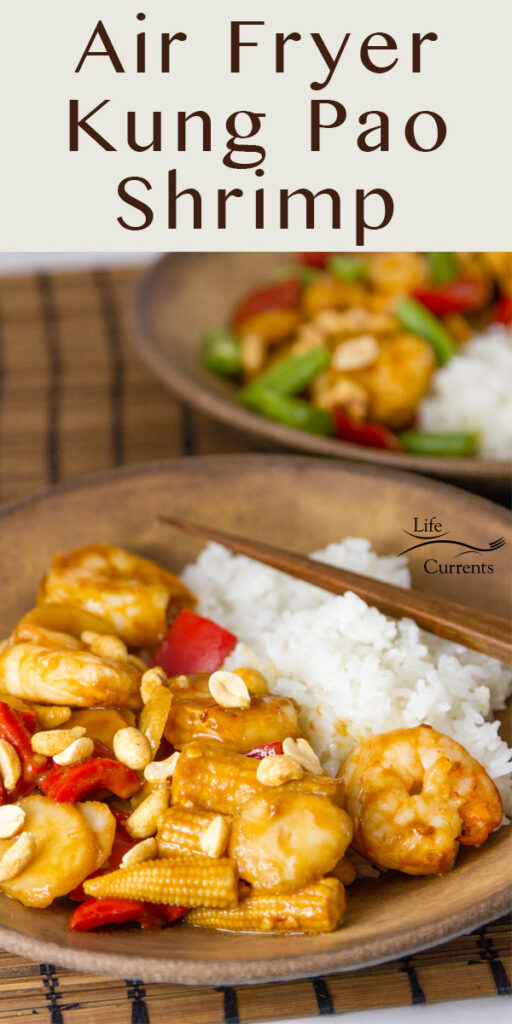 Air Fryer Kung Pao Shrimp served in a brown bowl with rice and chopsticks