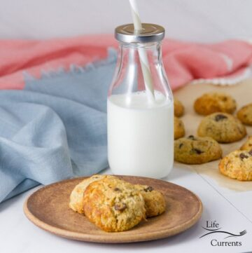 Coconut Almond Meal Cookies with Chocolate Chips on a plate with a glass of milk and the cookies in the background, square crop
