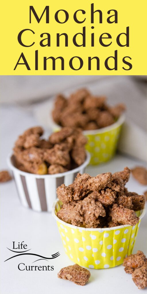 Mocha Candied Almonds in yellow and brown nut cups with some spilled out. Title at the top in yellow band