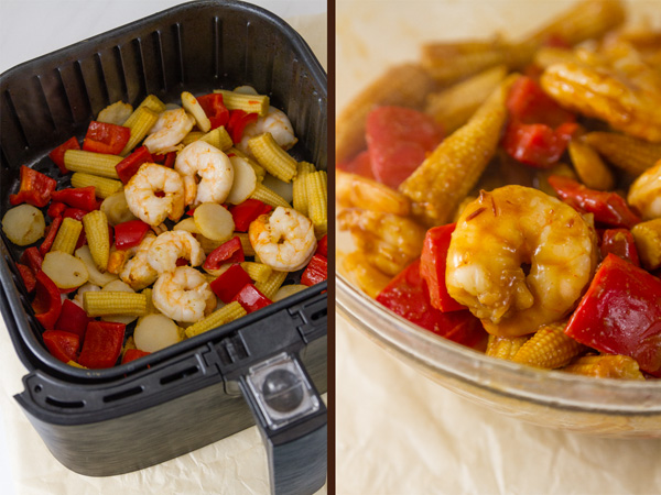 Air Fryer Kung Pao Shrimp process shots: cooked shrimp and veggies still in the air fryer basket on the left and the veggies & shrimp tossed in the sauce on the right