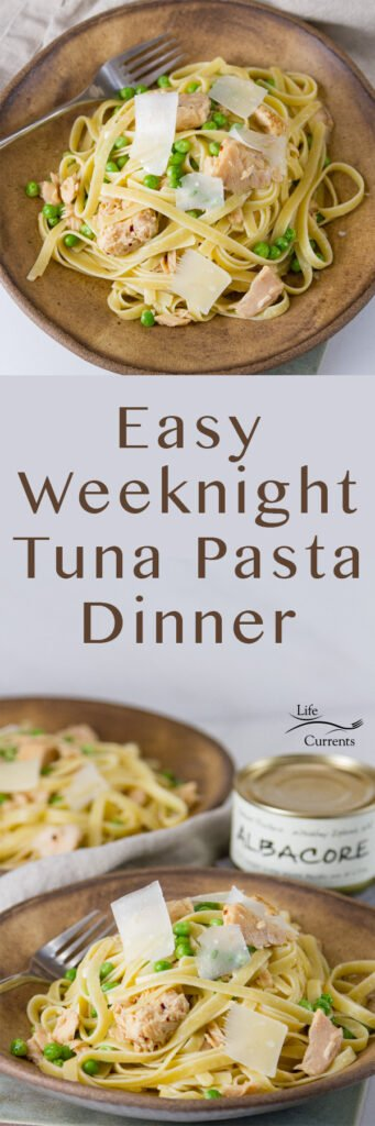 Long pin for Easy Weeknight Tuna Pasta Dinner with two images and the title in the middle