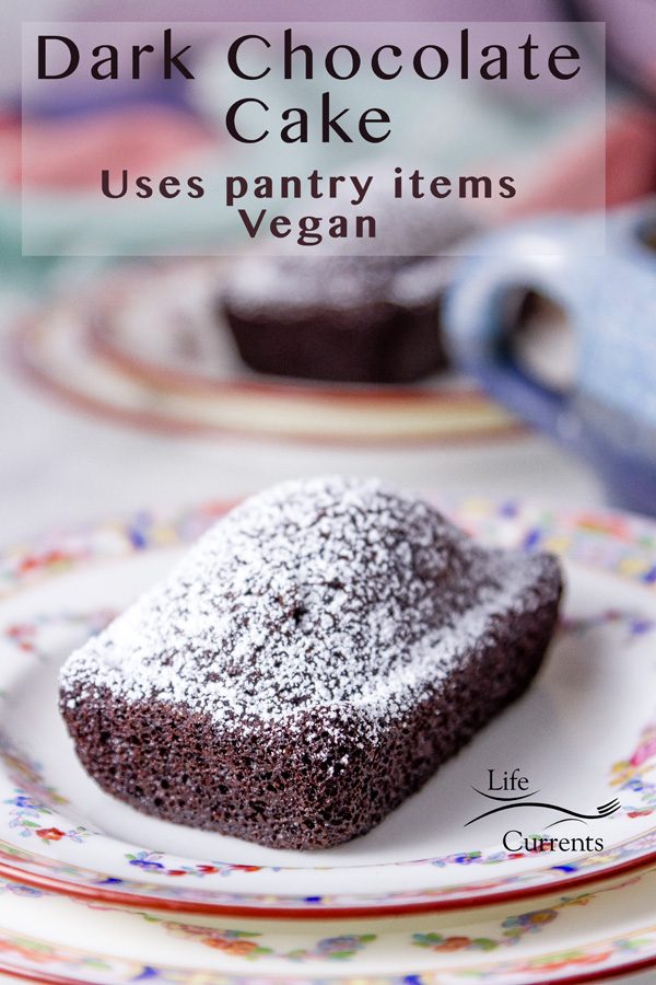 From Scratch Dark Chocolate Cake  baked into individual rectangles and dusted with powdered sugar on colorful plates with a tea cup on the right side and the title on top