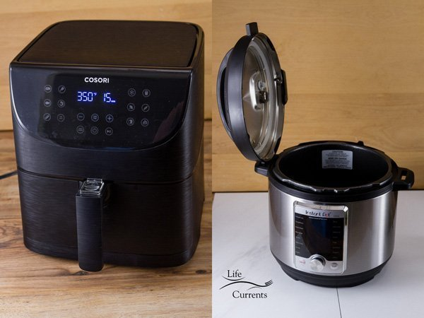 An air fryer in the picture on the left and an Instant Pot with the lip proped open in the image on the right  -- Air Fryer and Pressure Cooker Recipes