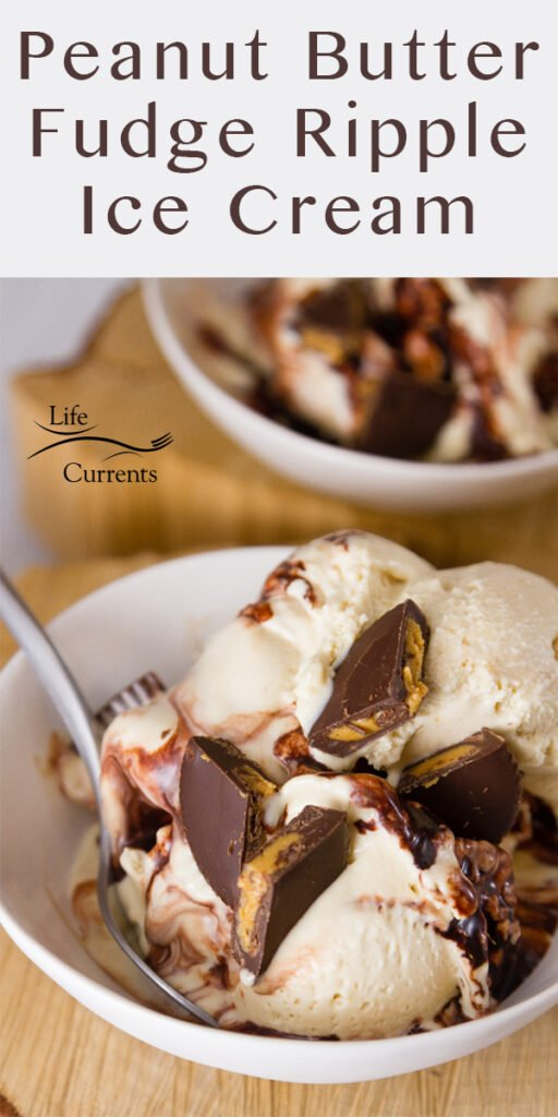 Two bowls of Peanut Butter Fudge Ripple Ice Cream, the one if front has a spoon, and the title on top