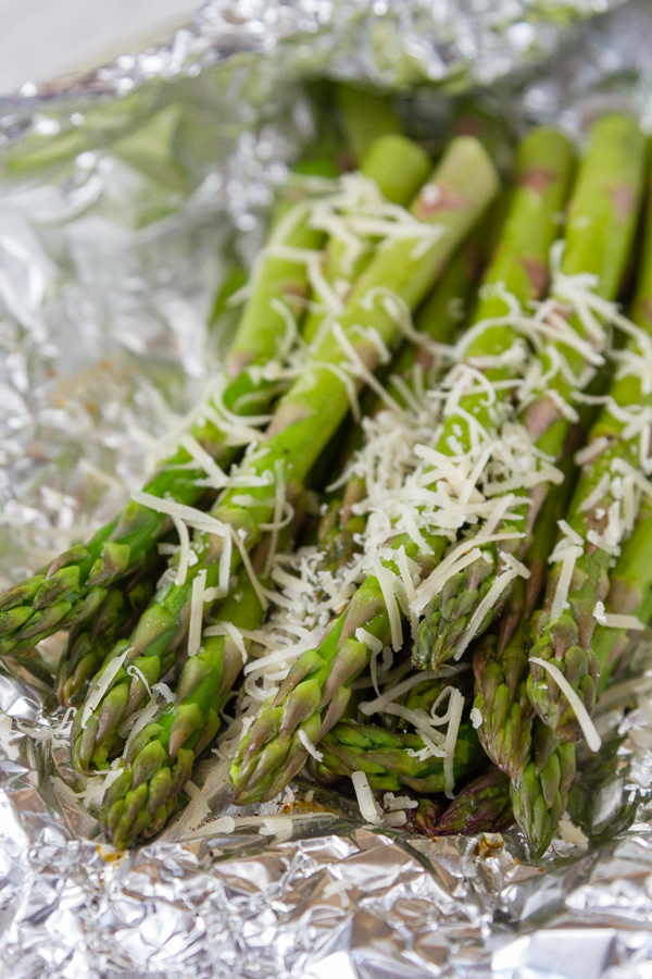 asparagus grilled in foil topped with Parmesan