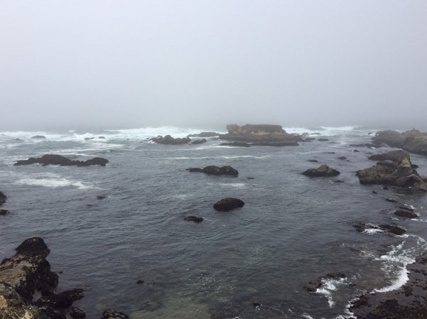 The beautiful beach while it's foggy at Glass Beach, Fort Bragg
