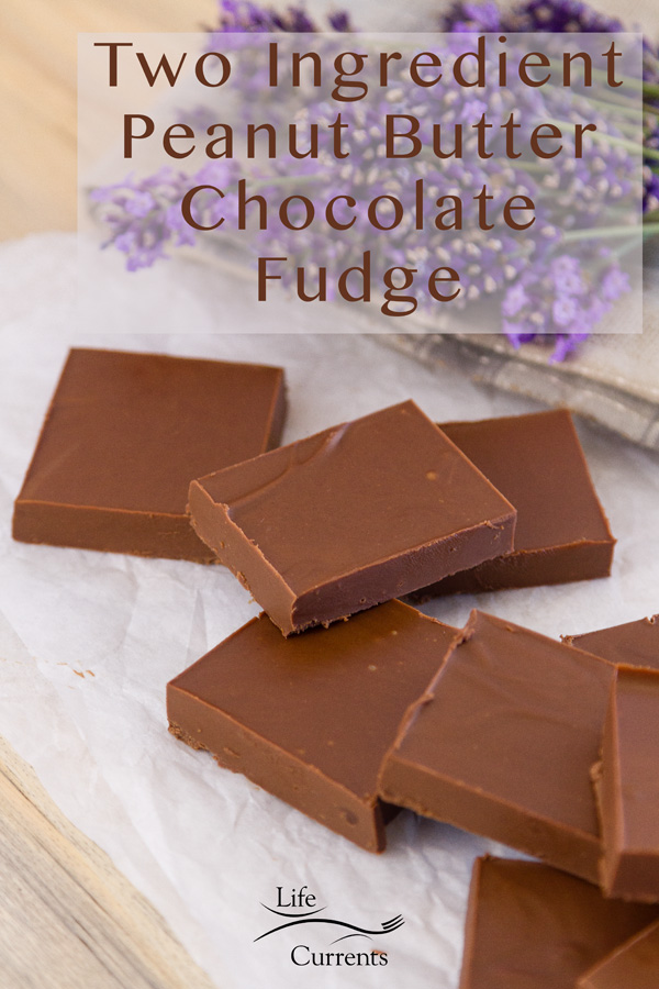 slices of fugde on a white cloth with lavender in the background. Title on upper right: Two Ingredient Peanut Butter Chocolate Fudge with Life currents logo on lower middle