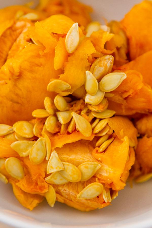 pumpkin guts with seeds