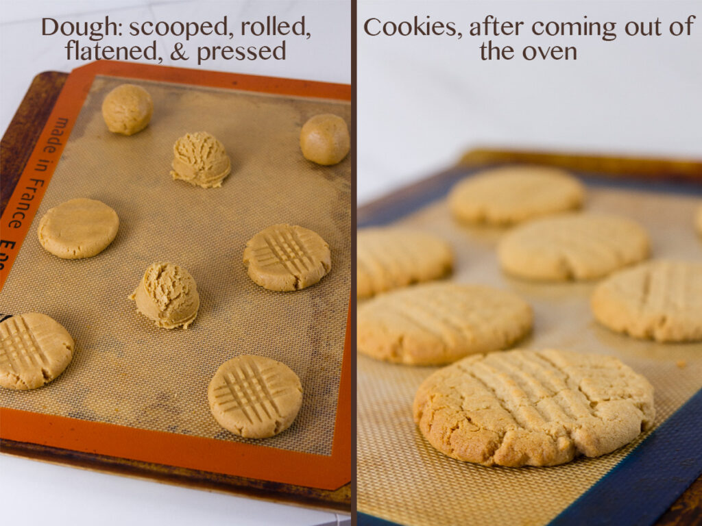 two images for process shots on how to make the dough balls and bake