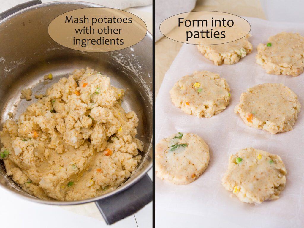 process shots for how to make potato fritters