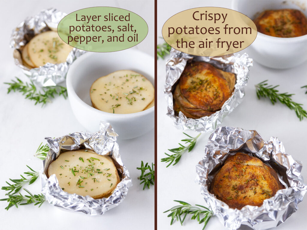 how to make Air Fryer Potato Stacks, raw potatoes on left and cooked on the right.